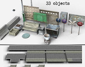 sign Urban Props low-poly pack 3D asset