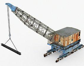 3D model Old Rail Dock Crane
