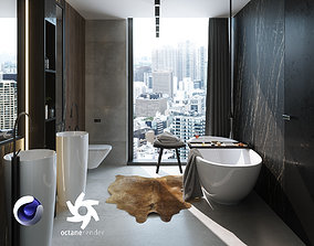3D model Bathroom Interior Scene for Cinema 4D and Octane