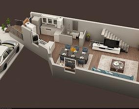 3d floor plan of ground floor