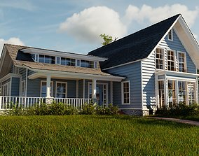 3D model Classic style porch house without