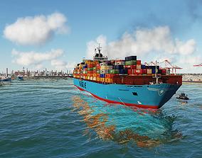 3D model Maersk ship and tugboat