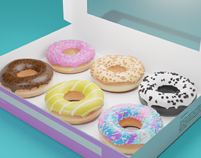 3D Donuts in a donut box