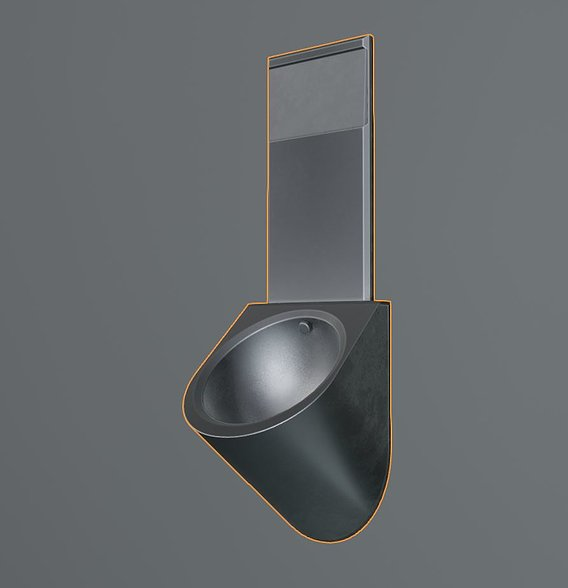 Metal Urinal Basin Low-Poly Version