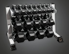 SAG - Gym Weight Rack 01 - PBR Game Ready 3D asset