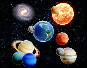 3D model game-ready Solar System