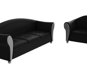 3D asset Black Sofa