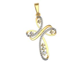 Pendant diamond cross 3D printable model milling