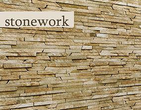 stone wall slate 24 3D