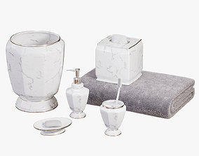 Elegance Faux Marble Bath Accessories 3D model