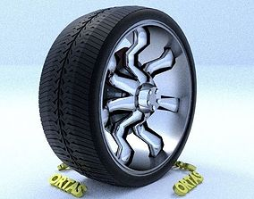 3D ORTAS CAR RIM 22 GAME READY RIM TIRE AND DISC