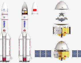 3D Tianwen Mars probe Long March-5