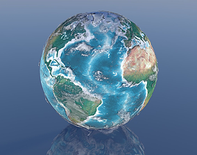 hemisphere animated 21K Relief Earth 3D Model
