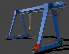 3D asset PBR Single Girder Gantry Crane V1 -