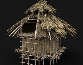 TRIBAL JUNGLE PRIMAL HUT HOUSE REED SILO 3D model 3