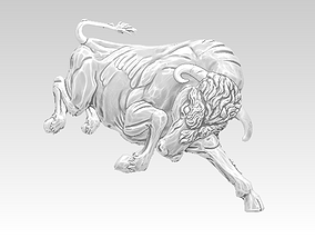 Angry bull relief 3D print model