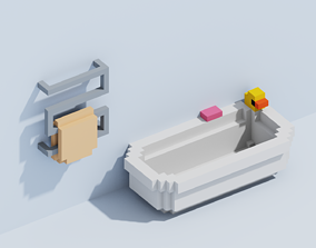 3D asset Voxel Bath and Dryer
