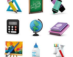 3D asset Low Poly School Supplies