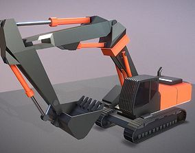 3D asset Excavator Rigged and Low-Poly