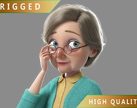 3D model Cartoon Old Woman Rigged