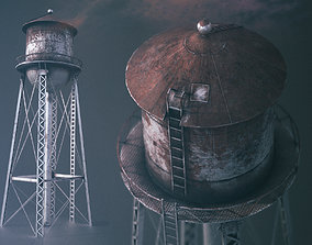 3D asset game-ready PBR WATER TOWER low-poly