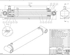 3D model Hydraulic Cylinder D100 S500