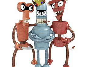 Robots Bender Roberto and Robo devil from Futurama 3D