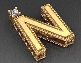 Roberto Coin N Letter Gold Diamond Pendant 3D print model