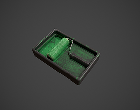 3D asset Paint Roller and Tray - Green Paint