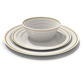 3D Gold Lined Diner Set