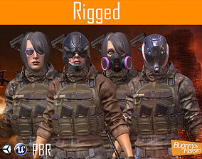 3D asset rigged PBR Woman Soldier