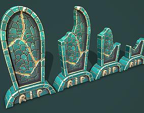 3D asset Fantasy gravestone rounded