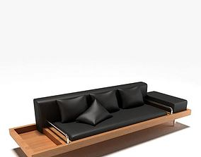 Wooden Couch With Black Leaher 3D model
