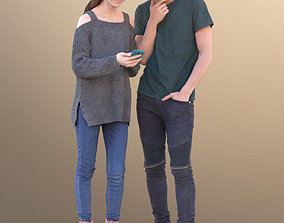 3D model Lisa and Clark 10729 - Standing Casual Teenagers