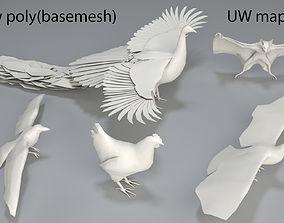3D asset Birds - 5 pieces-low poly-part 2
