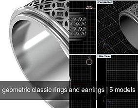 3D geometric classic rings and earrings