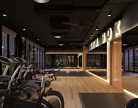 3D model GYM and basketball room industrial style