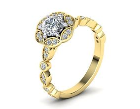 Diamond ArtDeco Engagement ring N0275 3D print model