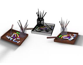 Artist materials in tray 3D model