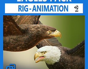 3D model Bald and Golden Eagles v3 - Unity