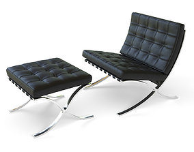 3D asset game-ready furniture Barcelona Chair