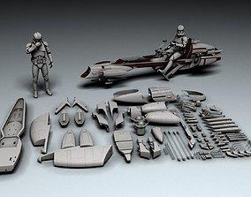 Star Wars BARC Speeder ship 3D print model