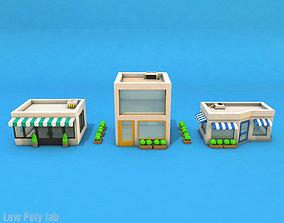Cartoon City Buildings 3D asset