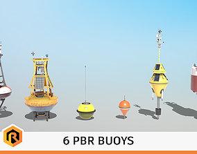 6 High-quality PBR Ocean Buoys 3D