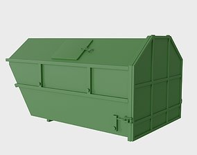 Steel dumpster 10 cubic meters with lids 3D asset