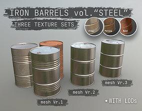 3D asset Cargo Iron Barrels 200L Steel