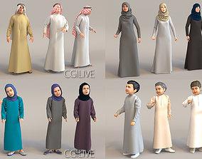 16x Arabic people real cloth simulation loop 3D model