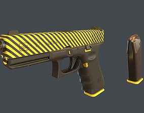 Yellow Glock 17 with magazine 3D asset