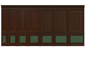 3D model Wood panel with leather 016