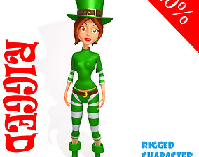 3D model Leprechaun girl Cartoon Rigged